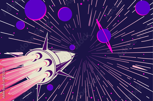 Fototapeta Astronaut in open space with stars and planets on background. Vector illustration.
