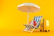 Umbrella with suitcase and deck chair