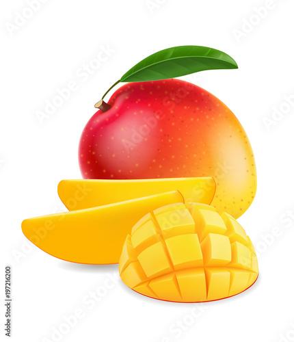 Fruit mango with mango slice realistic illustration