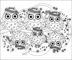 Coloring book for adult and older children. Coloring page with cute owl and flowers. Outline drawing in zentangle style