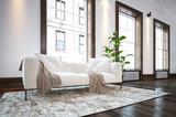 Large spacious minimalist living room interior - 197217221