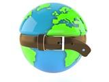 World globe with tight belt