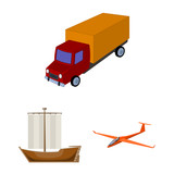 Different types of transport cartoon icons in set collection for design. Car and ship vector symbol stock web illustration. - 197222080