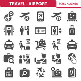 Fototapety Travel & Airport Icons. Professional, pixel perfect icons depicting various travel and airport concepts. EPS 8 format.