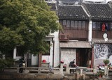 Old ancient wooden houses in chinese village - 197224645