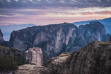 Sunset over Varlaam monastery in Meteora, Greece - 197225012
