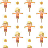 cute cartoon scarecrows seamless vector pattern background illustration - 197229255