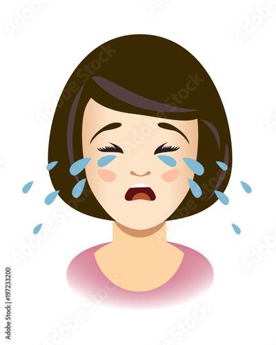 Head of weeping girl. Woman cries.