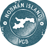 Norman Island map vintage stamp. Retro style handmade label, badge or element for travel souvenirs. Blue rubber stamp with island map silhouette. Vector illustration. - 197235869