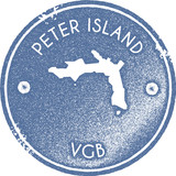 Peter Island map vintage stamp. Retro style handmade label, badge or element for travel souvenirs. Light blue rubber stamp with island map silhouette. Vector illustration. - 197236075