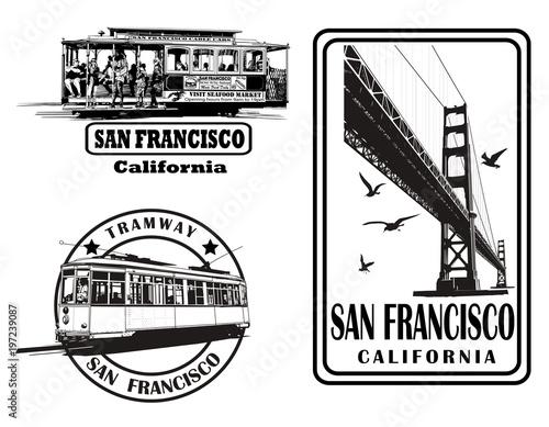 In de dag Art Studio Set of very detailed logos about San Francisco