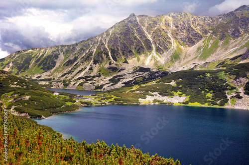 Poland, Tatra Mountains, Zakopane - Dolina Pieciu Stawow Valley, Przedni Staw Polski and Wielki Staw Polski Ponds, Opalony Peak, Marchwiczna Pass with High Tatra mountain range panorama in background