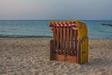 Strandkorb gesperrt am Strand