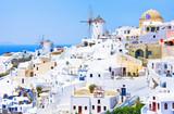 View of the village of Oia, Santorini, Greece. Traditional Greek architecture, white houses, the Aegean Sea, the caldera. White architecture against the blue sea - 197255688