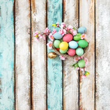 Easter eggs pink flowers decoration