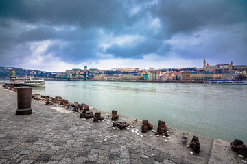 Metal shoes on the Danube, a monument to Hungarian Jews killed in the second world war, Budapest, Hungary.