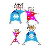 Set of cartoon cats in funny combos on a white background