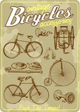 Bicycle and accessories vintage vector illustration collection in retro old poster style