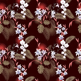Tropical seamless pattern with flowers.