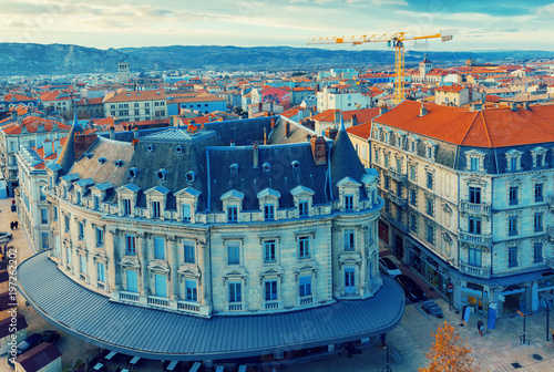Panorama of french city Valence on north country