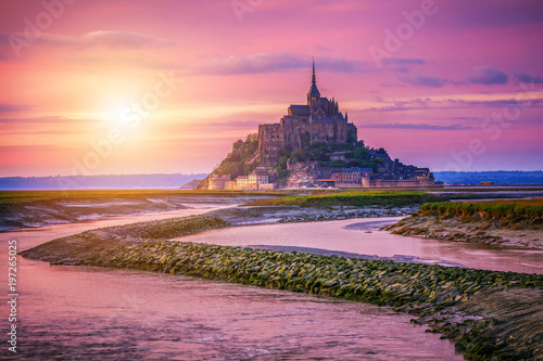 Fotobehang Candy roze Magnificent Mont Saint Michel cathedral on the island, Normandy, Northern France, Europe