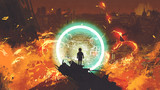 boy standing in front of a glowing blue ring and looking at the burning city, digital art style, illustration painting - 197268457