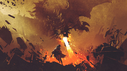 fantasy scene showing the young boy running away from the fire dragon, digital art style, illustration painting © grandfailure