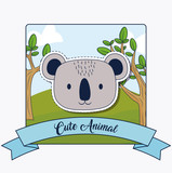 Cute animals design with koala icon and decorative ribbon over forest and white background, colorful design. vector illustration