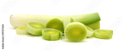 Foto op Aluminium Verse groenten Sliced Leeks on white background