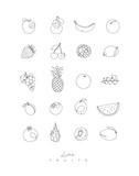 Pen line fruits icons - 197282698