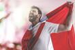 Peruvian soccer player celebrating in the stadium