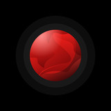 Design of deep red colored planet in round shape on black backdrop.