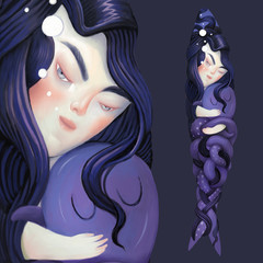Mermaid and her pet - illustration of a mermaid with waving hair holding the octopus
