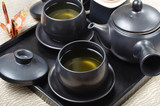 Japanese style tea set  in a wooden tray - 197287268