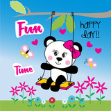 cute panda girl animal cartoon vector