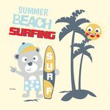 summer beach surfing cartoon vector - 197299686