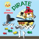 pirate bear paper art 3d cartoon vector