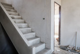 cement concrete stair in the under construction house at building site