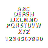 ABC alphabet in colorful style for kids.Latin letters and numbers.