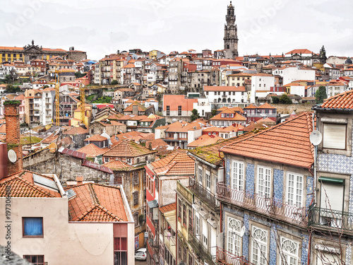 Poster Smal steegje Panoramic view of Porto old town, Portugal.