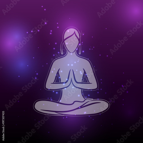 Fototapeta Shiny yoga meditation female silhouette