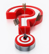 Arrows hit on target forming a question mark. 3D illustration
