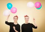 Women like a little girls want fly away by balloons. - 197314699