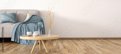 Leinwandbild Motiv Interior design of modern living room with sofa 3d rendering