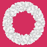 Wreath of flowers. Paper cutting orchid flowers. Design elements for invitation, greeting card, flyer, poster.