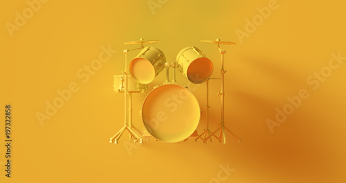 Yellow Drum Kit 3d illustration