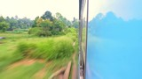 Speed motion camera from Sri Lanka train during long railway trip in rural countrysides and highland villages from Kandy to Nuwara Elia. Moving fast through scenic tropical mountain nature - 197324064