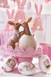easter table decoration with kissing rabbits figurine