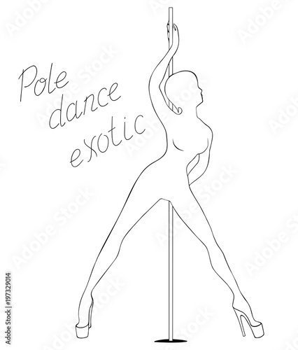 Black And White Silhouette Pole Dance On A White Background With