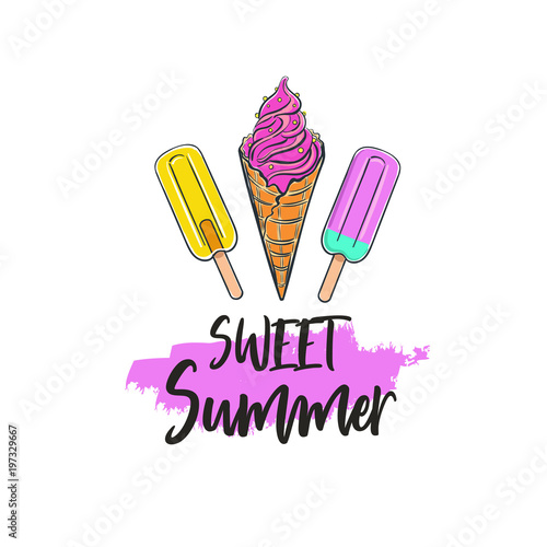 Plexiglas Positive Typography Sweet Summer. Vector Inspirational Summer Typography, Quote for hipster design logo, typography, banner.